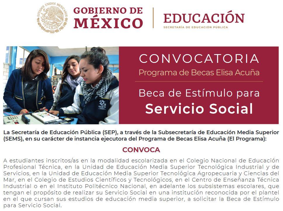 beca de estímulo para servicio social-_ Programa de Becas Media Superior